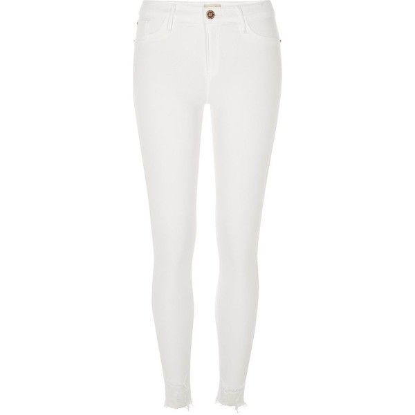 River Island White denim Molly jeggings found on Polyvore featuring pants, leggings, bottoms, jeans, calça, jeggings, white, women, denim jeggings and white jeggings