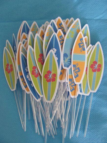 Resultado de imagem para modelo de adesivo para festa infantil de surf