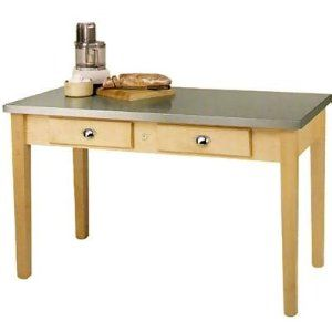 """John Boos MIL4824C Cucina Milano Work Table, 1-1/2 in Thick, S/S Top, Maple Base, 24 x 48 x 36 in H, Each by John Boos. $1289.00. John Boos MIL4824C Cucina Milano Work Table, 1-1/2 in Thick, S/S Top, Maple Base, 24 x 48 x 36 in H. Cucina Milano Work Table, 1-1/2"""" thick 16/304 stainless steel top with turned down edges and solid underlayment, maple base with Varnique finish, (2) centered dovetailed drawers. 48"""" x 24"""", 36"""" high."""