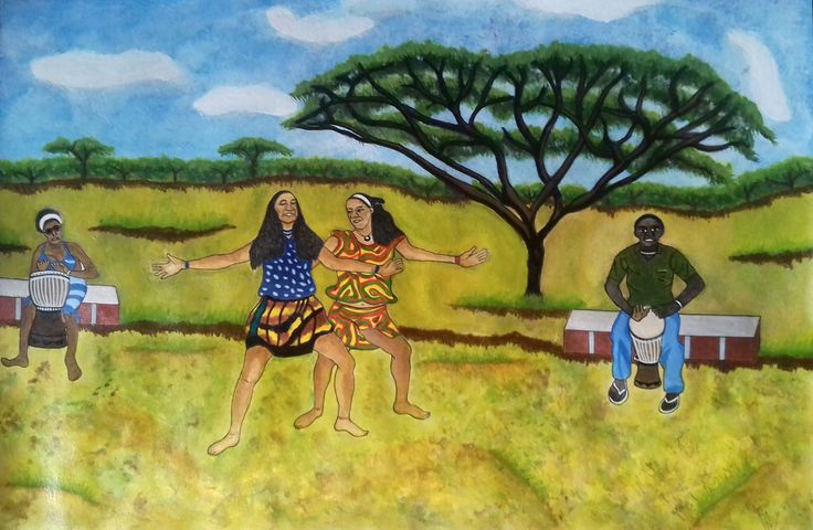 African dance. Acrylic painting.