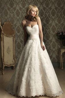 Brautkleid Spitze - Herz-Ausschnitt Prinzessin Kapelle Schleppe Lace volle länge elegantes & luxuriöses formelles Brautkleid - Vorderseite 250,-