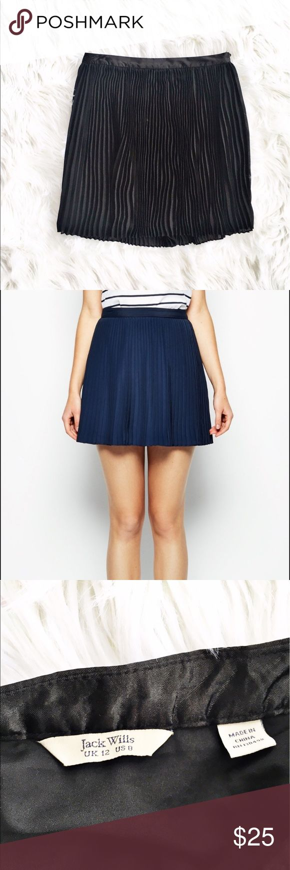 """Jack Wills Briony pleated skirt Adorable black pleated Briony mini skirt from Jack Wills, size 8. Satin waistband with concealed side zipper. 2nd picture is the same skirt in navy to showcase fit. Excellent condition. Flat measurements are waist 15"""", hips free, length 18"""". Jack Wills Skirts Mini"""