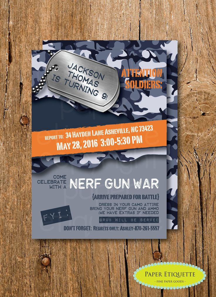 Nerf War Camo Birthday Invite, Nerf War Birthday Party, Camo Birthday Invitation, Boy Paint Gun Party, Boy Army Birthday Party Invite, Camo by PaperEtiquette on Etsy