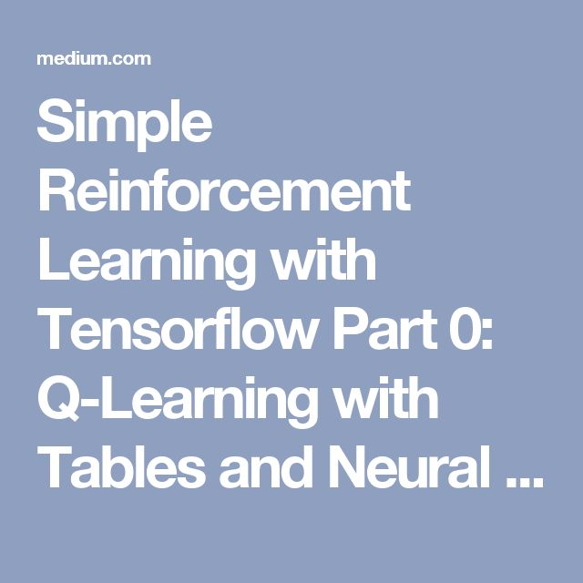 Simple Reinforcement Learning with Tensorflow Part 0: Q-Learning with Tables and Neural Networks – Emergent // Future – Medium