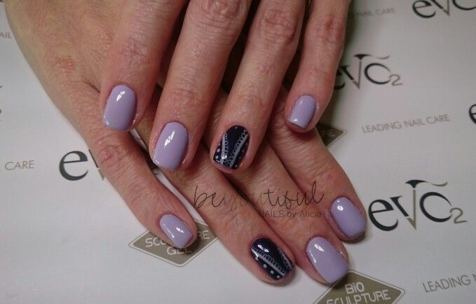 Purple Gel Overlay with Nail Art
