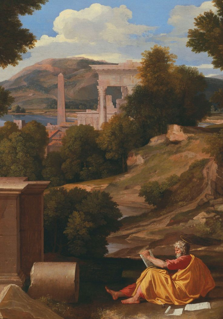 Nicolas Poussin: Detail from Landscape with Saint John on Patmos, 1640.