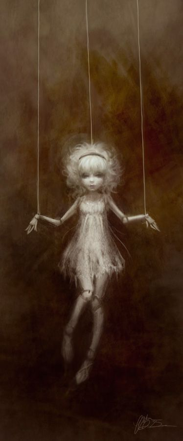Marionette by ~yumedust- I love the watercolor feel to this piece the dark nature that is still retaining its mix of playfulness and mystery. The beautiful done piece with the ghostly doll works well with the dark background causing it to be even more haunting.