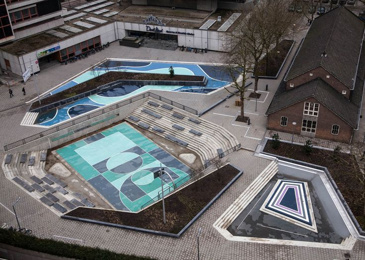 De Urbanisten's Water Squares in Rotterdam fill up with floodwater in heavy rain and can also be used as public spaces when dry. Photograph by Pallesh+Azarfane