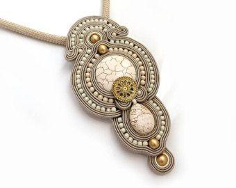 Peach coral old gold necklace soutache OOAK statement necklace