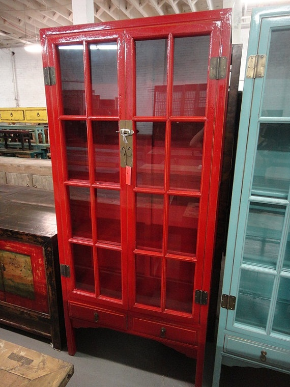 Good Asian Inspired China Cabinet Red Los Angeles By