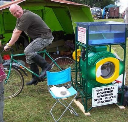 Impressive Ways to Exercise and Generate Energy. This Bicycle powers a washer/dryer!