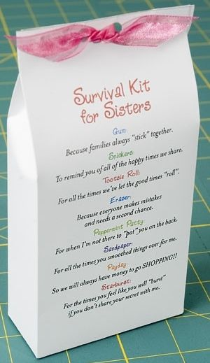 """Sister (in law) survival kit. Bag, Ribbon. PUZZLE PIECE: Because you are an important part of my life. GUM: To Remind you, We always """"stick"""" together. TISSUES: For all the joyful tears we've shared. JOLLY CANDY: To keep you """"Jolly"""" when I'm not around. BALLON: To lift up your spirits, when they are down. LIFESAVER: To let you know that I'll be there for you always. A HUG: Just in case you need one. CANDY WATCH: For all the good times we've shared. PAPERCLIP: To make sure we always stay…"""