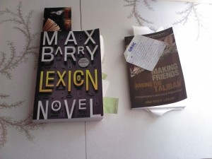 """@Dayna Janzen is reading (and taking notes) on Max Barrys Lexicon & The Fatman (and all those notes too!) just finished & reviewed """"Making Friends with the Taliban (post coming soon!).  You can read all our reviews & other blog posts @Lázár Gulyás Day http://www.LazyDay.Ca"""