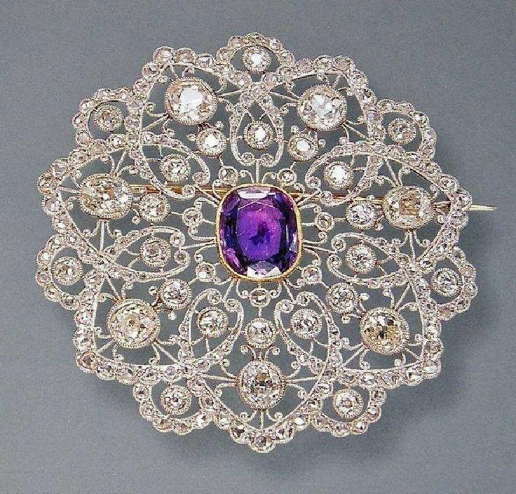 New Round Purple Oval Art Deco <b>Vintage</b> Style Brooch <b>925 Sterling</b> ...