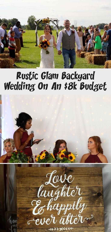 Rustic Glam Backyard Wedding | The Budget Savvy Bride | Wine bridesmaid dresses from David's Bridal | burgundy wedding | sunflower bridal bouquet #IvoryBridesmaidDresses #BurgundyBridesmaidDresses #SilverBridesmaidDresses #AfricanBridesmaidDresses #RusticBridesmaidDresses
