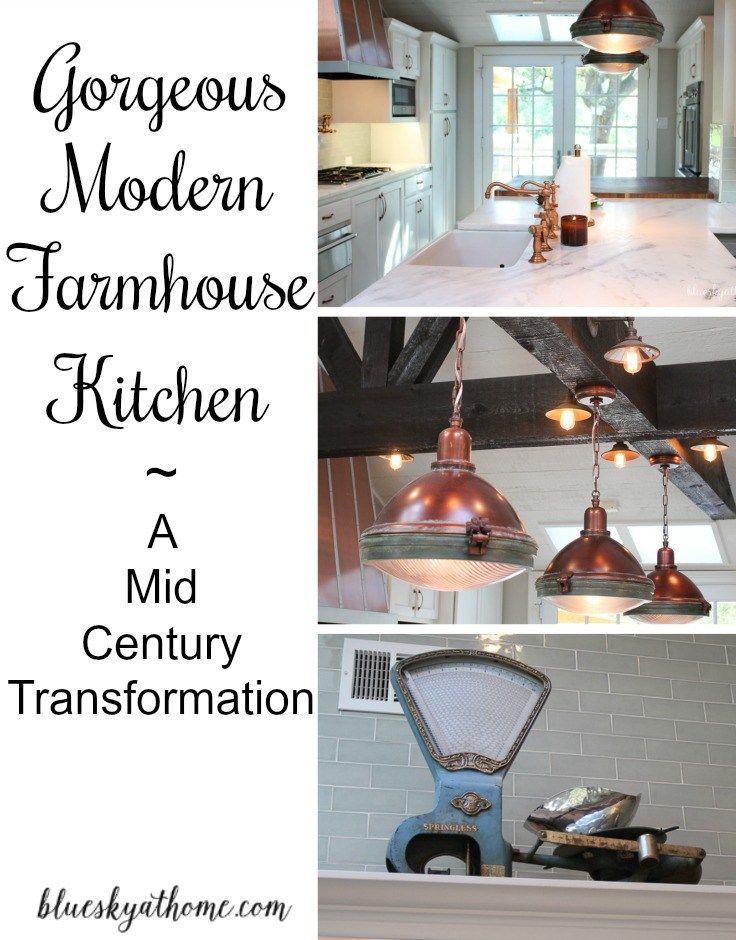 Gorgeous Modern Farmhouse Kitchen You will love. A homeowner transforms a 1950's kitchen from mid~century to modern farmhouse. BlueskyatHome.com