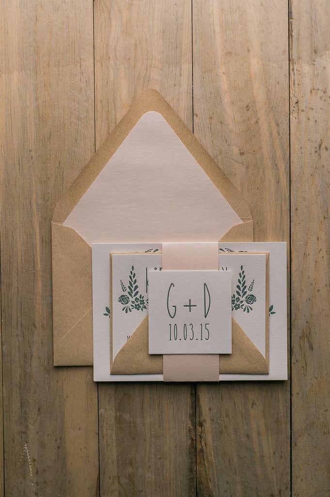 HADLEY Suite Romantic Package, blush, green, floral, letterpress wedding invitations, kraft, paper bag