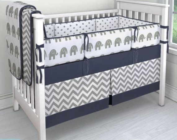 Navy and Gray Elephant/dot/chevron crib by ConvertibleCoveralls