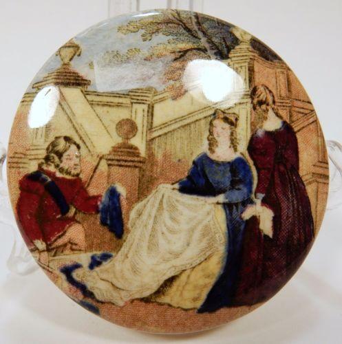 Antique-Victorian-Trinket-Box-Cinderella-Slipper-Pottery-Dresser-Fairy-Tale