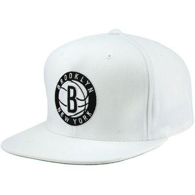 Mitchell & Ness Brooklyn Nets Standard Logo Snapback Adjustable Hat - White