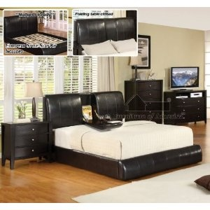 New Espresso California King Size Platform Bed With Fold Down Tray Can