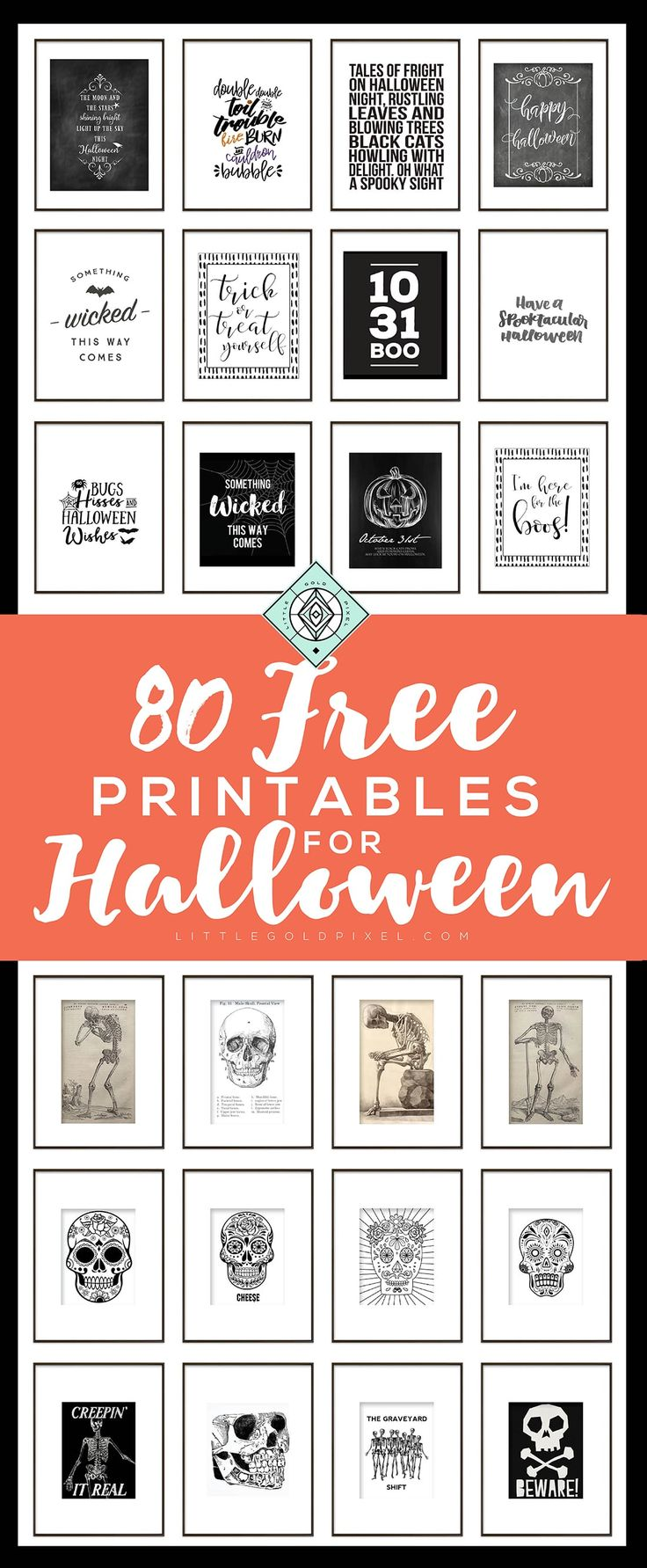 Last-Minute Decor: Halloween Free Printables Vol. 3 •Little Gold Pixel • Bookmark and save for your Halloween decor!