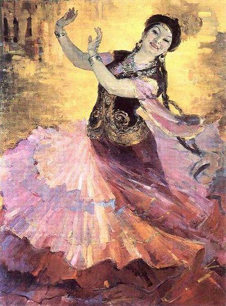 """Kazakh painter Gulfairus Ismailova. """"Kazakh vals (the portrait of Shara Zhienkulova), 1958"""