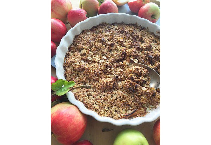 Sukkerfri eplepai med havremel