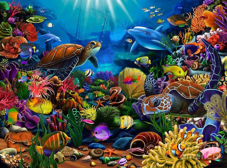 Рисованные картинки подводного мира