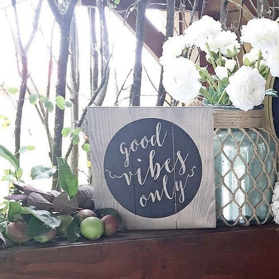 Good Vibes Only  Boho Decor | Good Vibes Decor | Yoga Studio Decor  | Hipster Decor   Sign measures 10x10 inches  Made using a mixture of knotty and clear pine…