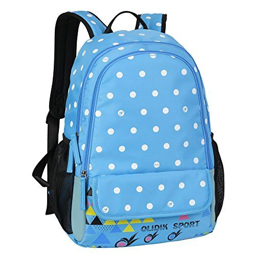 BLUBOON Backpacks for Girls Bookbags Lightweight Casual Style Waterproof Polka Dot Boys BackpackBlue * Want additional info? Click on the image.
