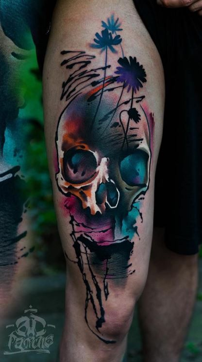 colorful skull tattoo totenkopf tattoos tattoo vorlagen und tattoo ideen. Black Bedroom Furniture Sets. Home Design Ideas