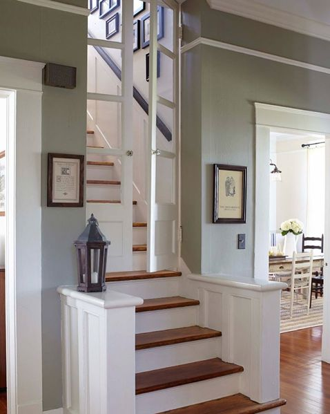 Swinging door to regulate inside temp.  YES.  Old House Staircase | Ben and Erin Napier | HGTV | Home Town