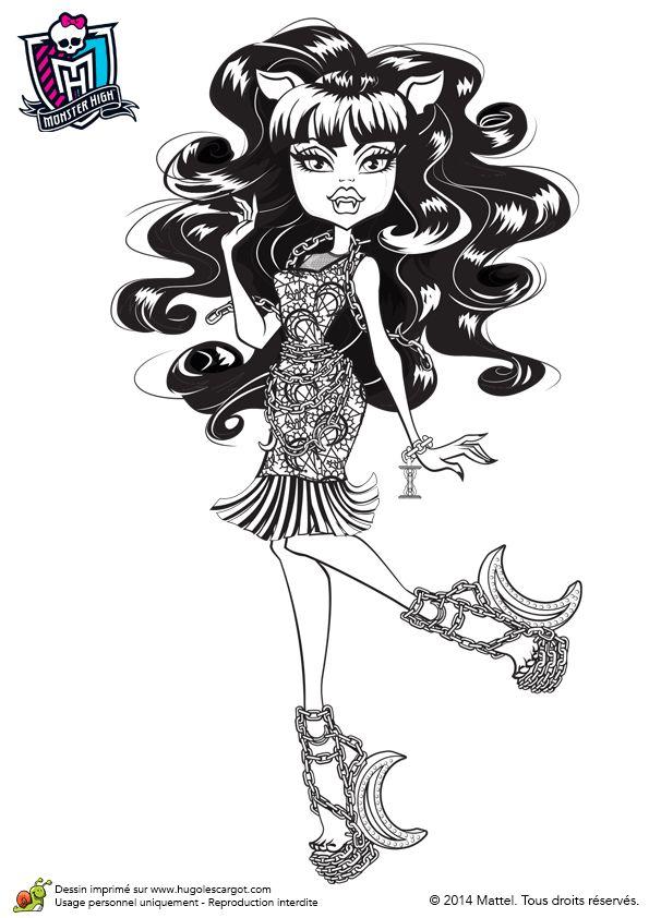 A colorier, Clawdeen avec ses chaussures lune