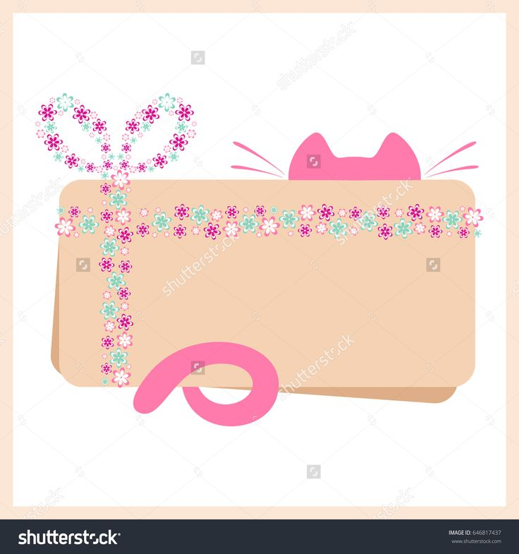 Greeting card with a ribbon and a knot bow. Knot bow with flowers design. Greeting card with cat elements. Template for gift card.