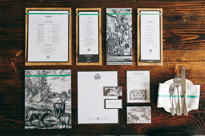 The Black Sheep identity and menu design by Block Club / love the stripe of green throughout, black and white illustrations, strong symmetry, bold type