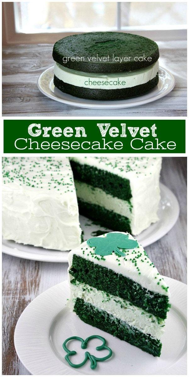 Green Velvet Cheesecake Cake Rezept von RecipeGirl.com: zwei Schichten grüner …   – Rezeptiert