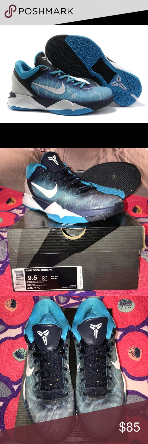 NIKE ZOOM KOBE VII, Shark, Men's 9.5 LIKE NEW!! NIKE ZOOM KOBE VII, GREAT WHITE SHARK, Men's 9.5. Color: Obsidian, white, black, gray, current blue. Bright white--no discolorations! Never worn during activity. Worn less than 5 times for looks. LOOK NEW, no scuffs!! PERFECT TREAD! Nike symbol on outside and inside. Shape is GREAT due to keeping them packaged. Originally $140, reselling for $85. Comes from a smoke-free home:) Nike Shoes