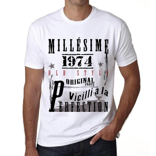 #tshirt #anniversaire #homme #cadeau #blanc  Célébrez le grand moment avec ces t-shirts! --> https://www.teeshirtee.com/collections/fr-vintage-white-mens/products/1974-birthday-gifts-for-him-birthday-t-shirts-mens-short-sleeve-rounded-neck-t-shirt-2