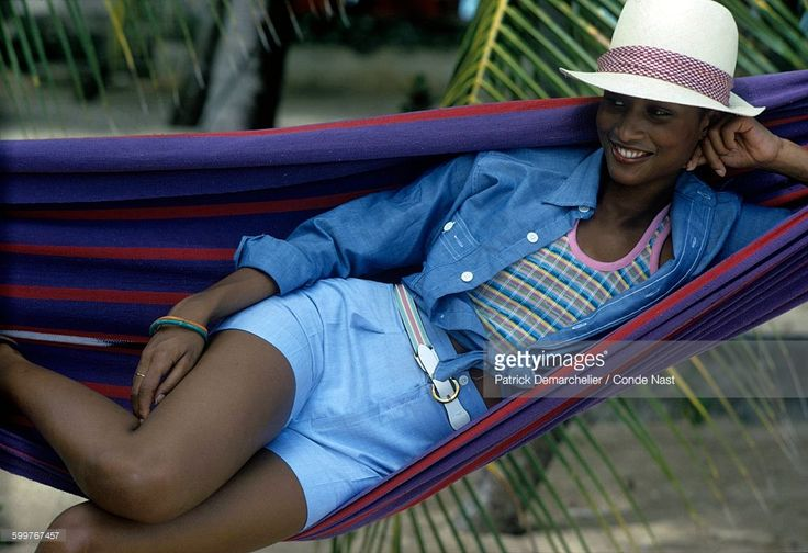 News Photo : Model Beverly Johnson, lying in a hammock,...