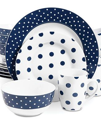 isaac mizrahi dots luxe navy set service for 4 casual dinnerware dining u0026 macyu0027s