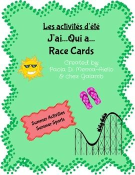 This chain reaction game reinforces listening skills and reviews basic summer vocabulary. This set includes 28 cards. I suggest you print the cards in colour on card stock and laminate them so they last longer.The vocabulary included is as follows;le basketballle maillot de baseballl'arbitrele terrain de baseballle casque de football amricainles pantalons de baseball le baseballle joueur de footballle footballle panierle soleille cornet de glacele maillotles lunettesla tentela limonadeles…