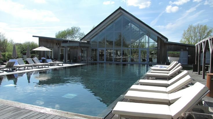The heated outdoor pool at the Art Spa in summer.