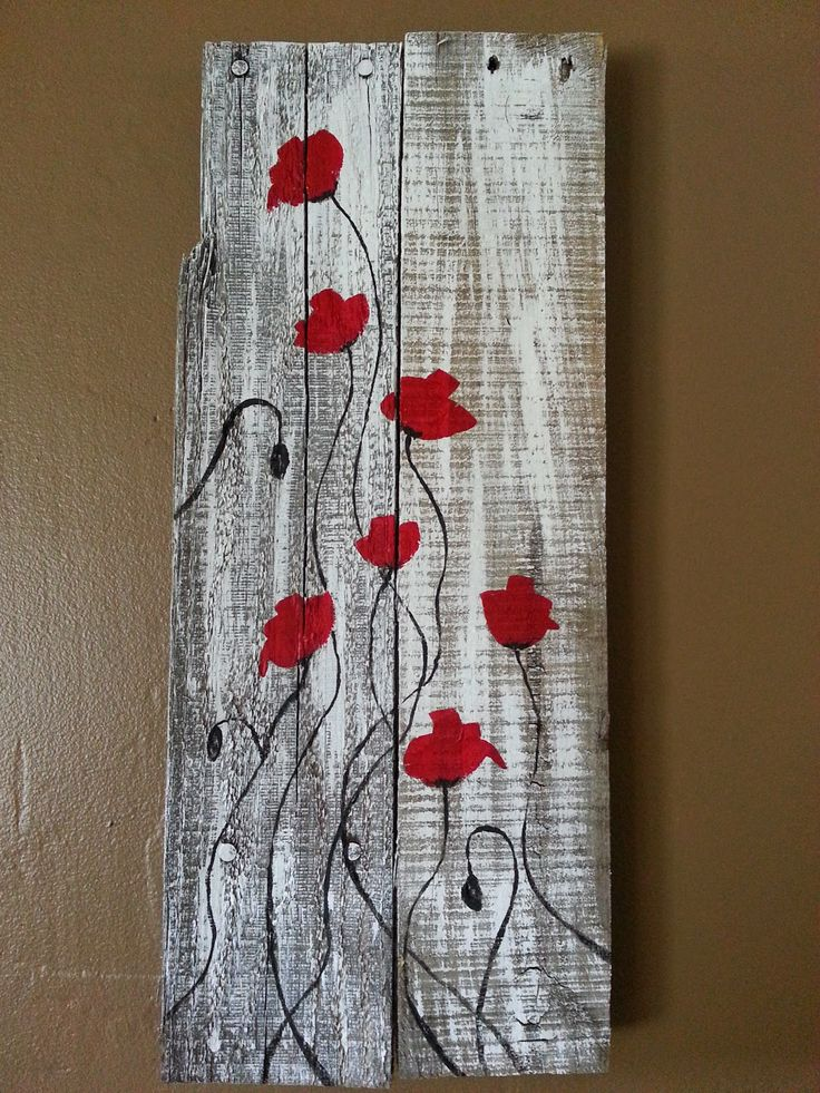 Red Poppies on Reclaimed Wood.