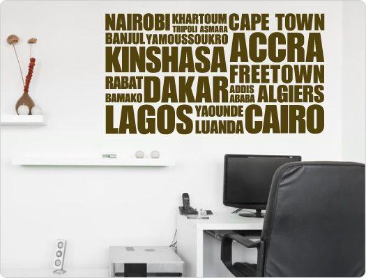 Wandtattoo Städtenamen Afrika (Nr.1)