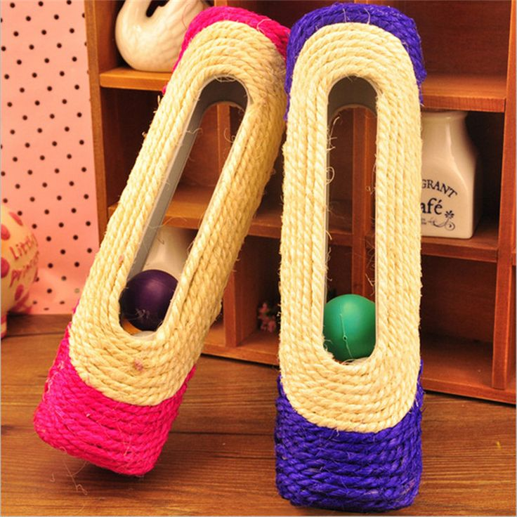 New 1pc Long sisal cat rolling scratching post Cat Scratch roller trapped 3 balls Pet kitten Training Tool interactive Toys S070