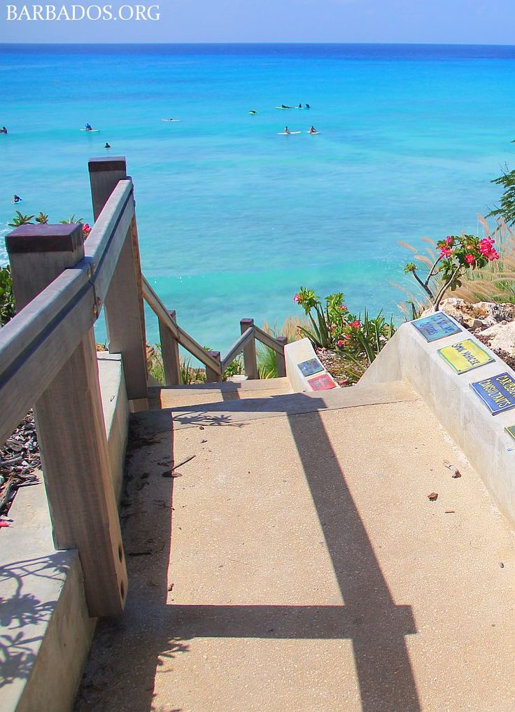 Heading down the steps into Freights Bay on the southern tip of Barbados
