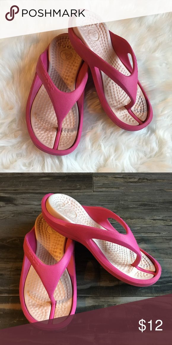 Croc flip flops size 6 Pretty in pink! 🌷🌷These are the most comfortable flip flops!  🌷🌷 CROCS Shoes Sandals