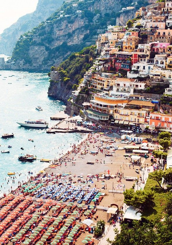 Positano Beach along the Amalfi Coast
