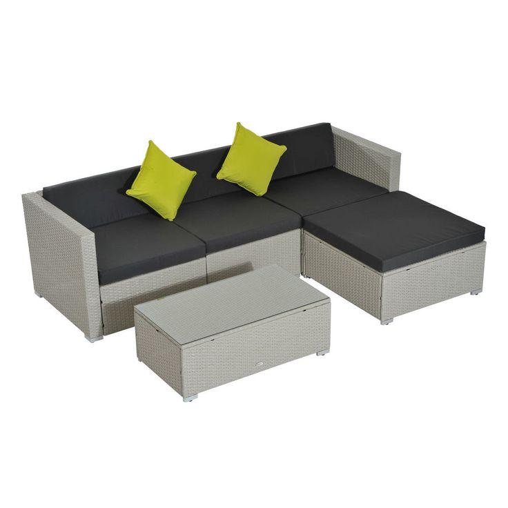 Rattan Corner Sofa Set Wicker Garden Coffee Table Chair L Shape Black Cushion